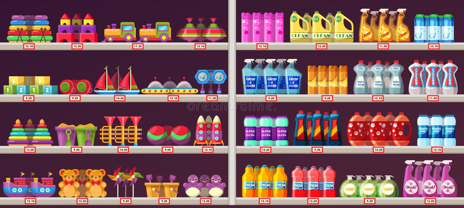 Supermarket aisle shelves with toys and chemicals vector illustration