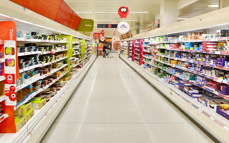 Supermarket Aisle View royalty free stock image