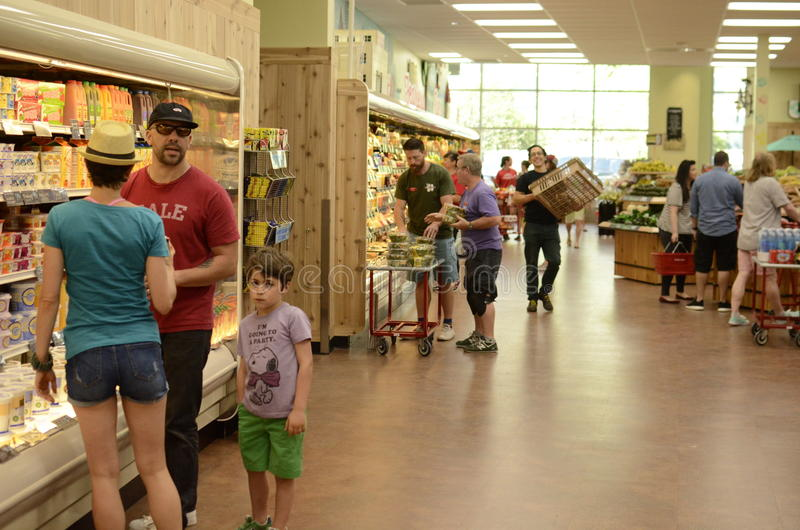 Supermarket Aisle View. Trader Joes supermarket in Austin Texas stock photography