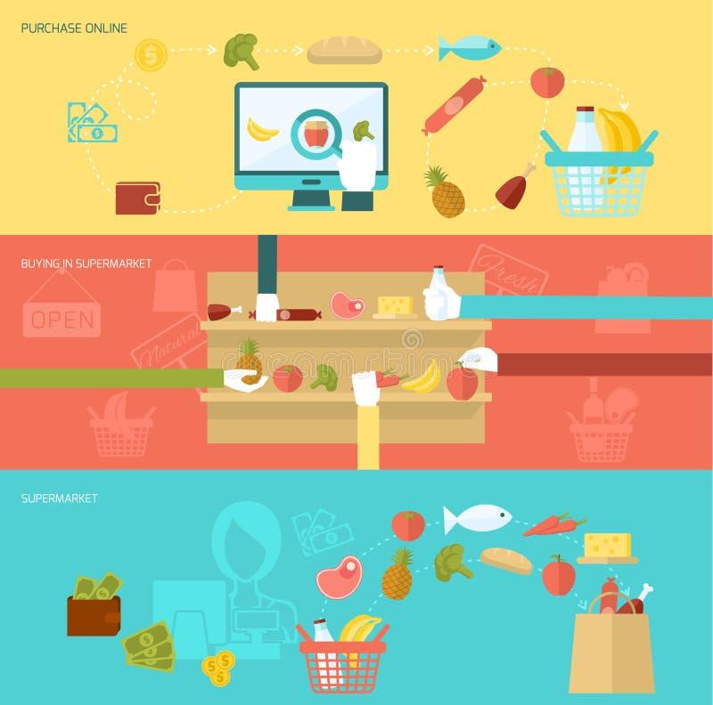Supermarket Banner Set vector illustration