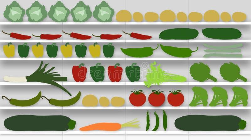 Supermarket bordlägger mycket av grönsaker vektor illustrationer
