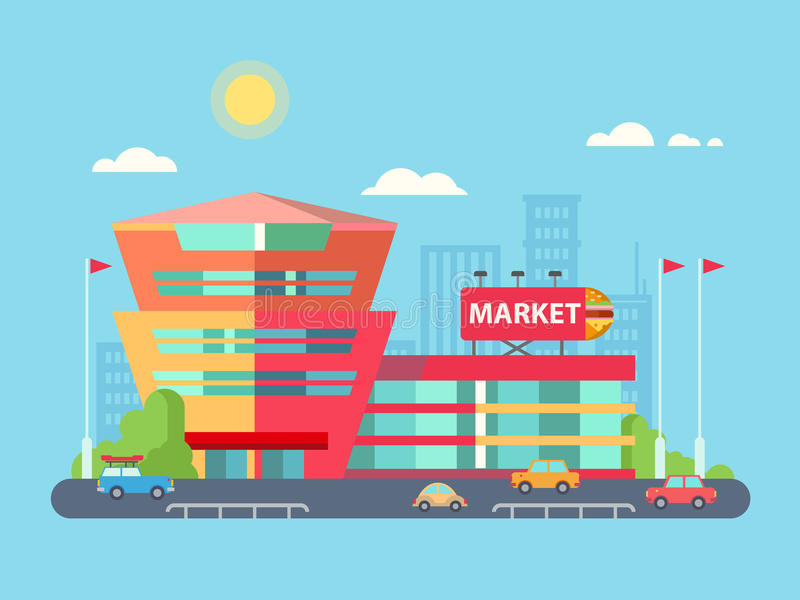 Supermarket Building Facade with Parking in front stock illustration