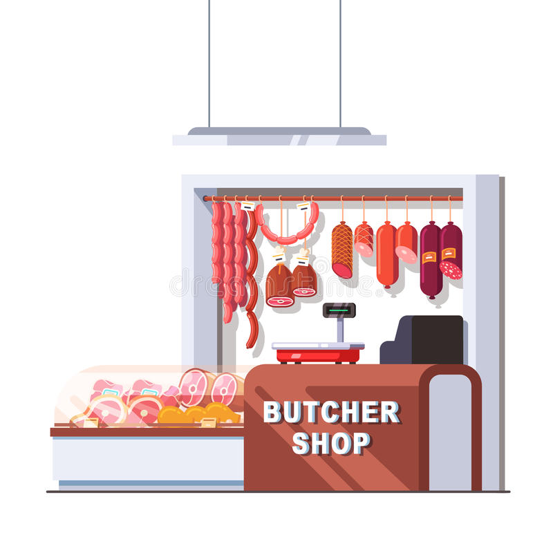 Supermarket butcher shop checkout counter. And scales. Showcase full of local fresh meat products and sausages. Retail business concept. Flat style vector royalty free illustration