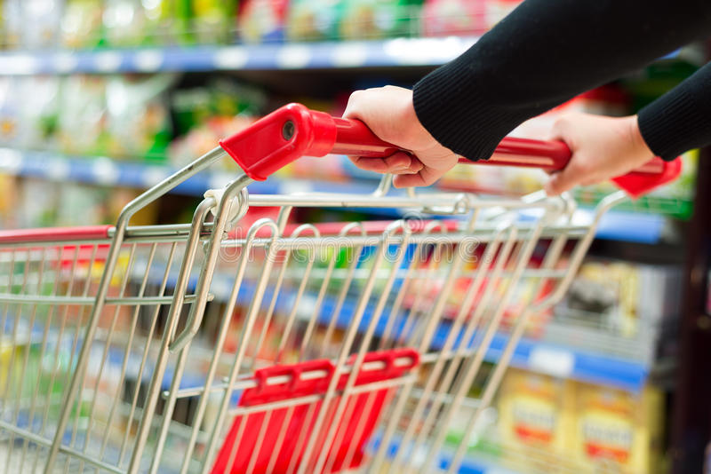 Supermarket cart royalty free stock image