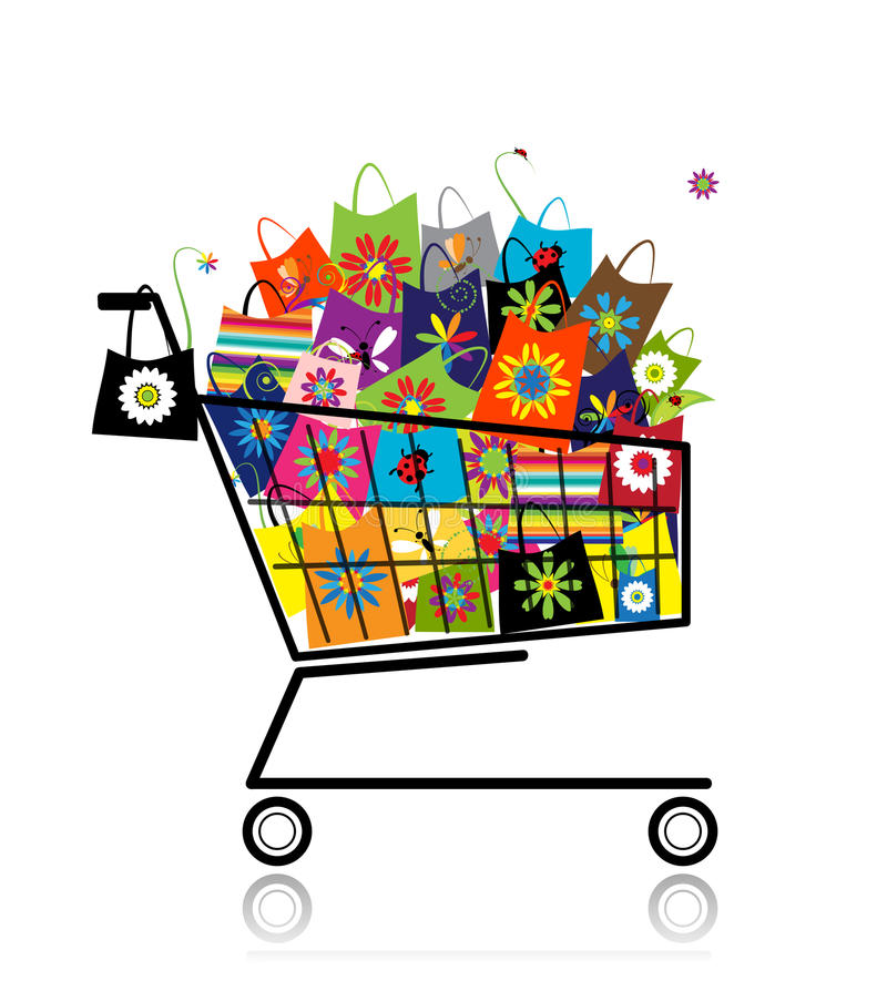 Supermarket cart with shopping bags. For your design royalty free illustration