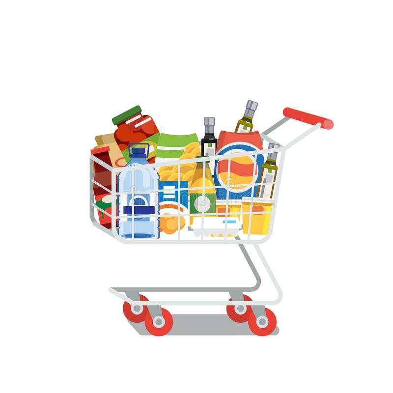 Shopping Cart Full of Food Isolated Flat Vector vector illustration