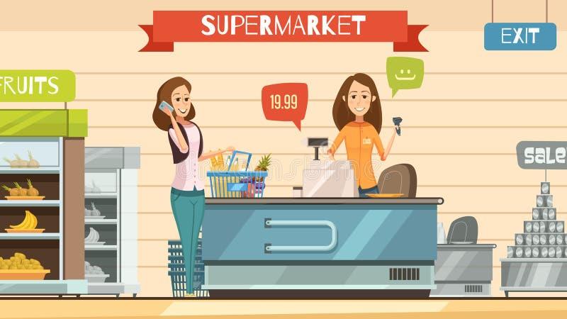 Supermarket Cashier at Register Retro Cartoon Poster. Supermarket store cashier and customer with grocery basket at cash register retro cartoon poster vector stock illustration