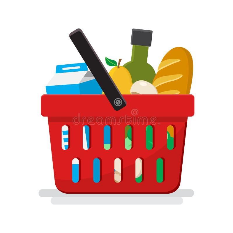 supermarket Cesta de compra com mantimentos Vetor ilustração stock