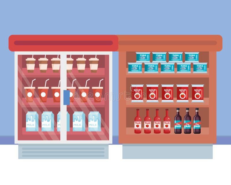 Supermarket chłodziarka z półką i produktami ilustracja wektor