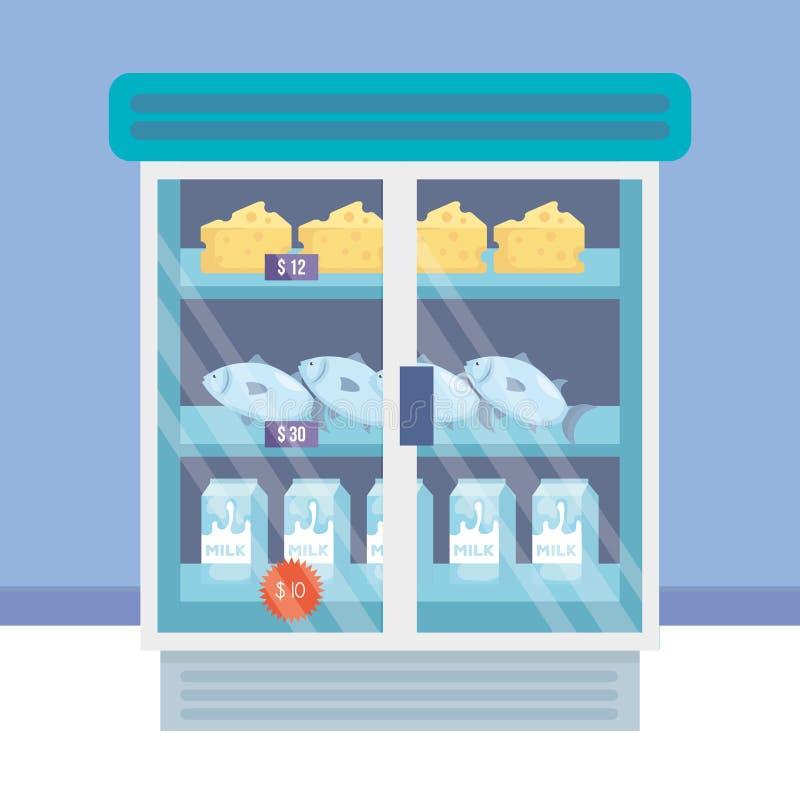 Supermarket chłodziarka z produktami ilustracja wektor