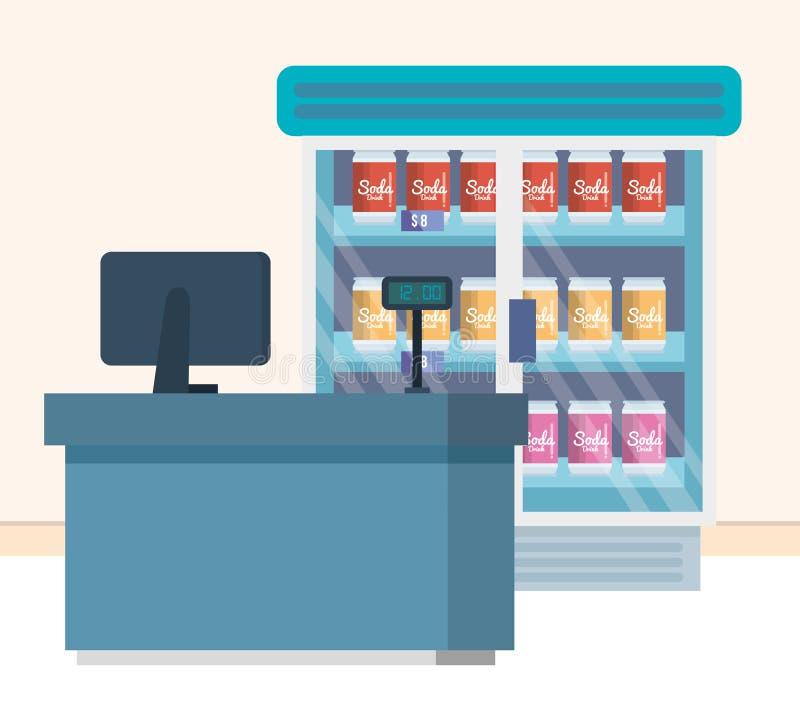 Supermarket chłodziarka z produktami i sprzedaż punktem ilustracja wektor