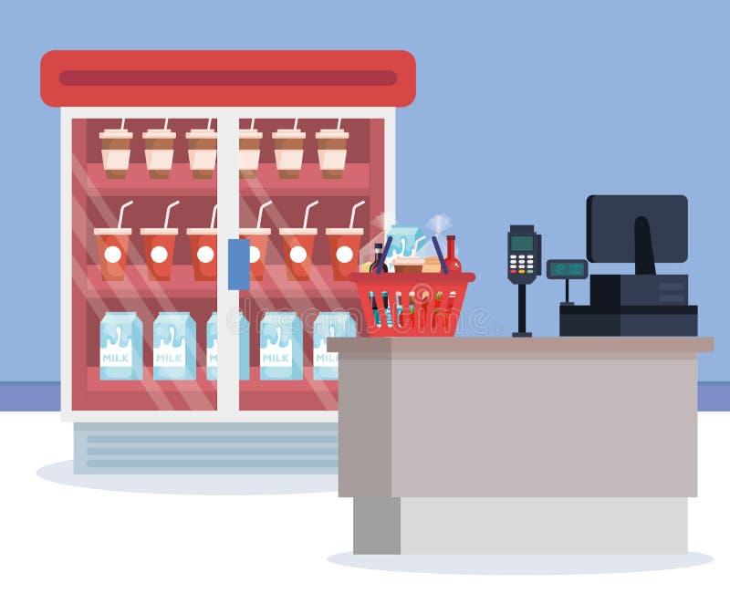 Supermarket chłodziarka z produktami i sprzedaż punktem ilustracji