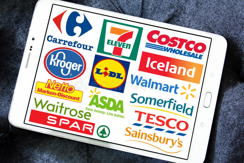 Supermarket chains and retail brands and logos royalty free stock photos