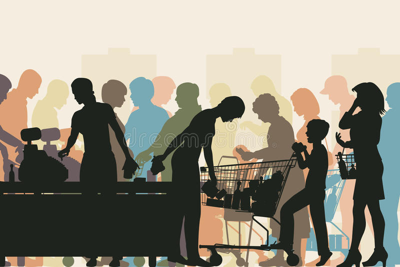 Supermarket checkout. Editable vector colorful illustration of people in checkout queues in a busy supermarket vector illustration