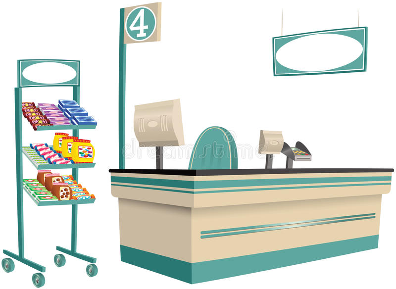 Supermarket checkout. A generic supermarket checkout, plus hanging sign and candy stand. E.P.S. 10 vector file included with image, on white vector illustration