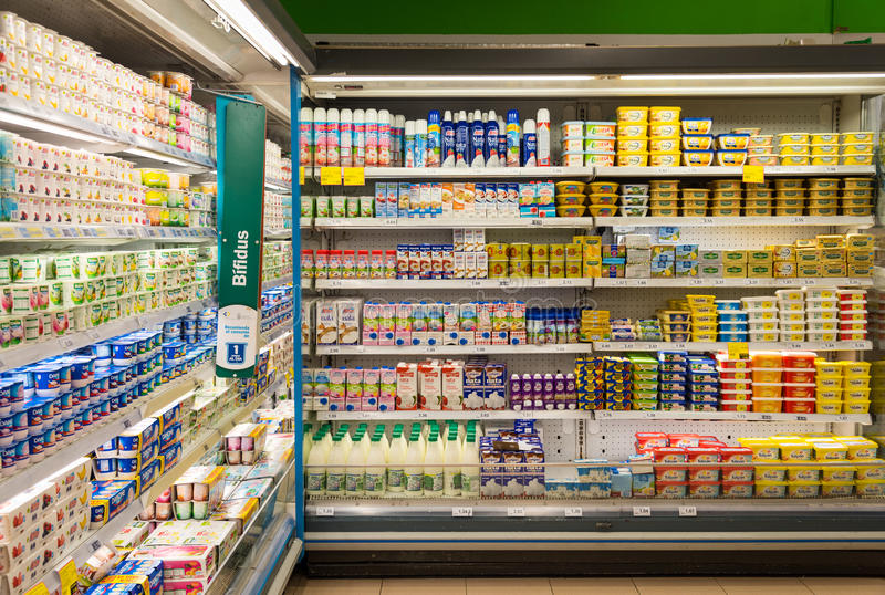 Supermarket dairy products stock image