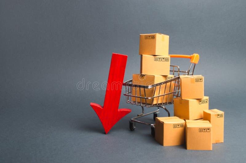 Supermarket för shoppingvagn med askar och en röd pil ner Fallande konsumentbegäran och att gå ned exporter eller importer royaltyfri foto