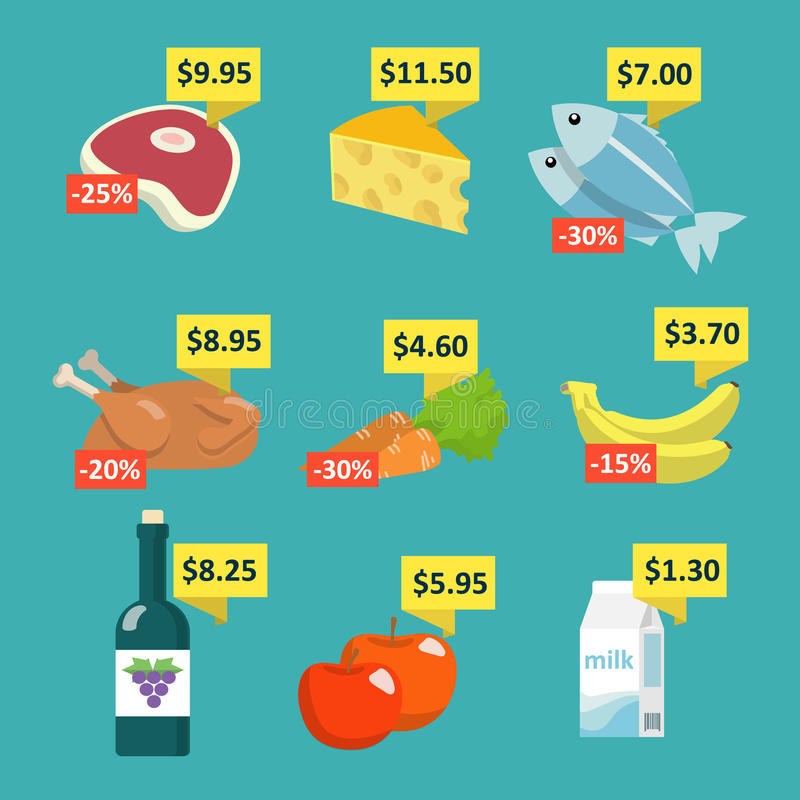 Supermarket food with price tags vector illustration