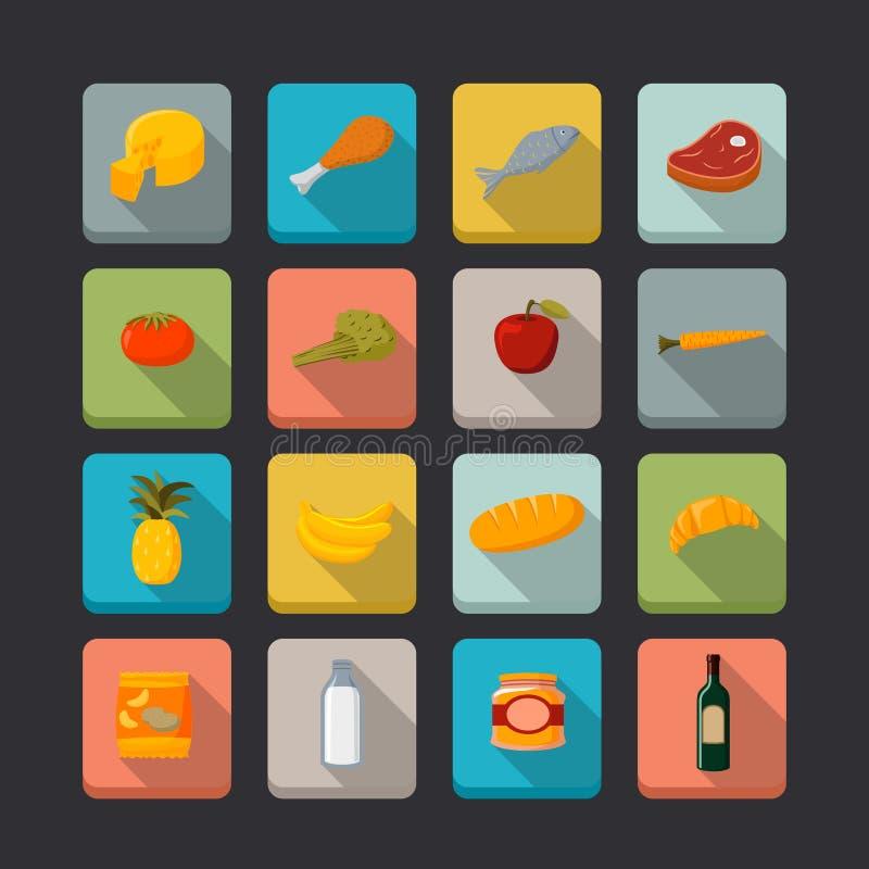 Supermarket foods icons set stock image