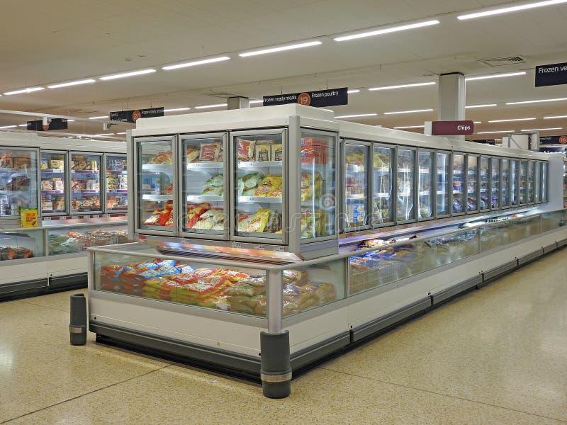 Supermarket freezer fridges. Photo of supermarket freezers and fridges taken 13th june 2017 royalty free stock image