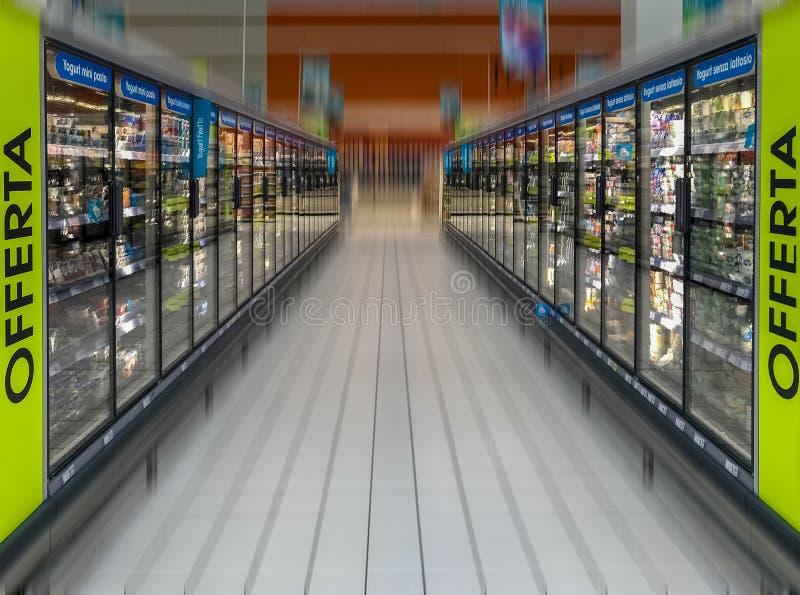 Supermarket freezer. Row of freezers at the supermarket stock photos