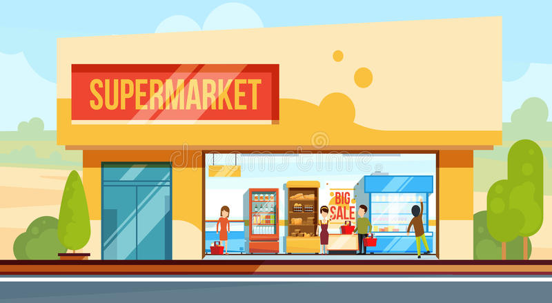 Supermarket in front view with shopping people in checkout line. Seller assistants. Vector illustration in flat style. Building exterior supermarket, showcase stock illustration