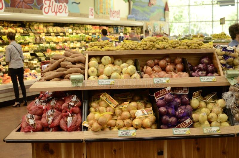Supermarket. Fruit and vegetables inside a supermarket stock images
