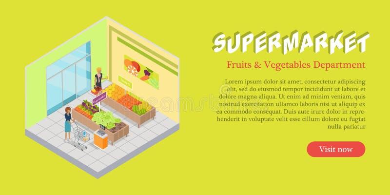Supermarket Fruits Vegetables Department Banner royalty free illustration