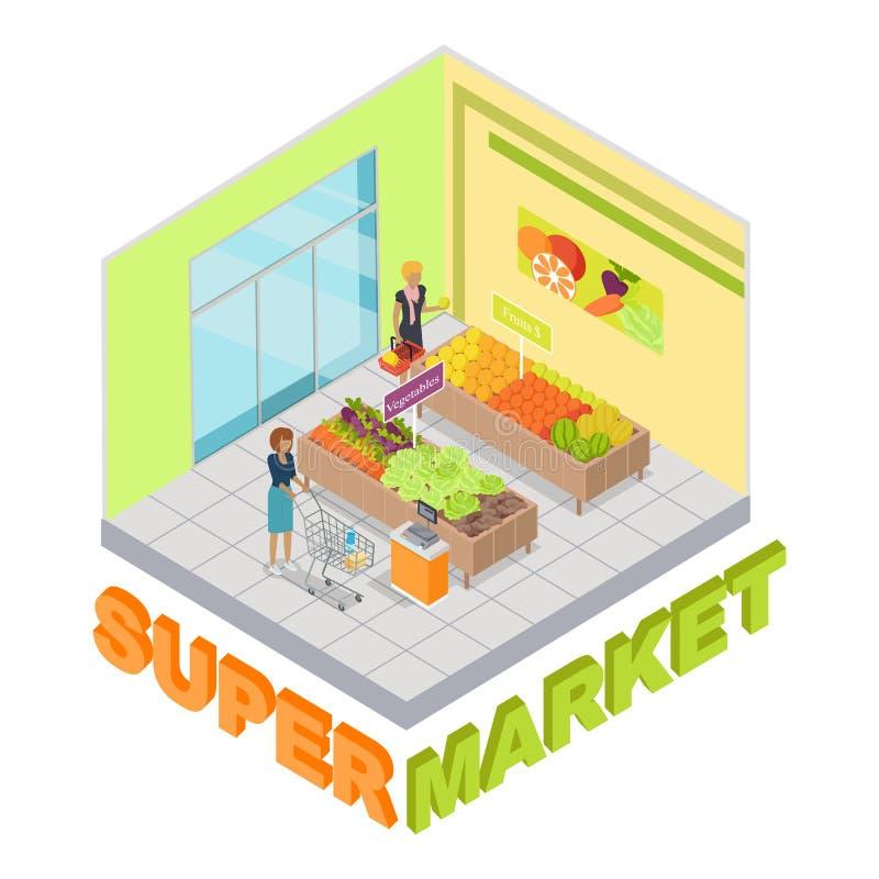 Supermarket. Fruits and Vegetables Department royalty free illustration