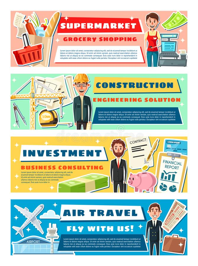 Engineer, pilot, clerk and seller. Supermarket grocery shopping, construction engineering solutions, investment business consulting, ail travel advertisements royalty free illustration