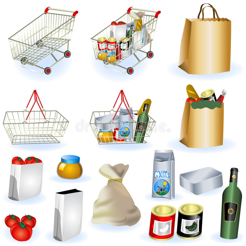 Download Supermarket icons 1 stock vector. Image of shopping, open - 18829785