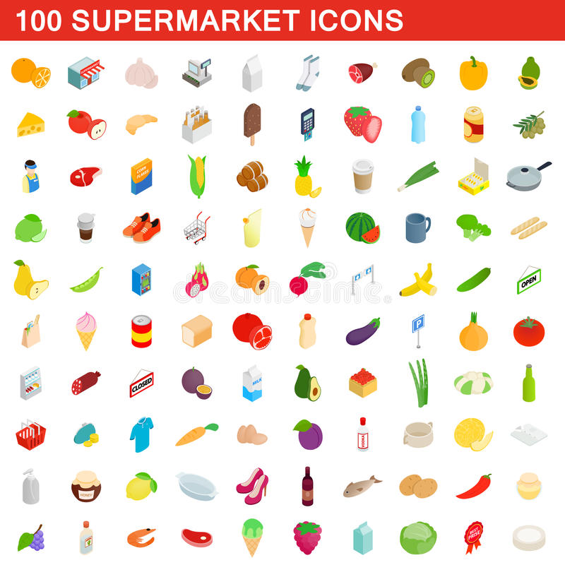 100 supermarket icons set, isometric 3d style vector illustration