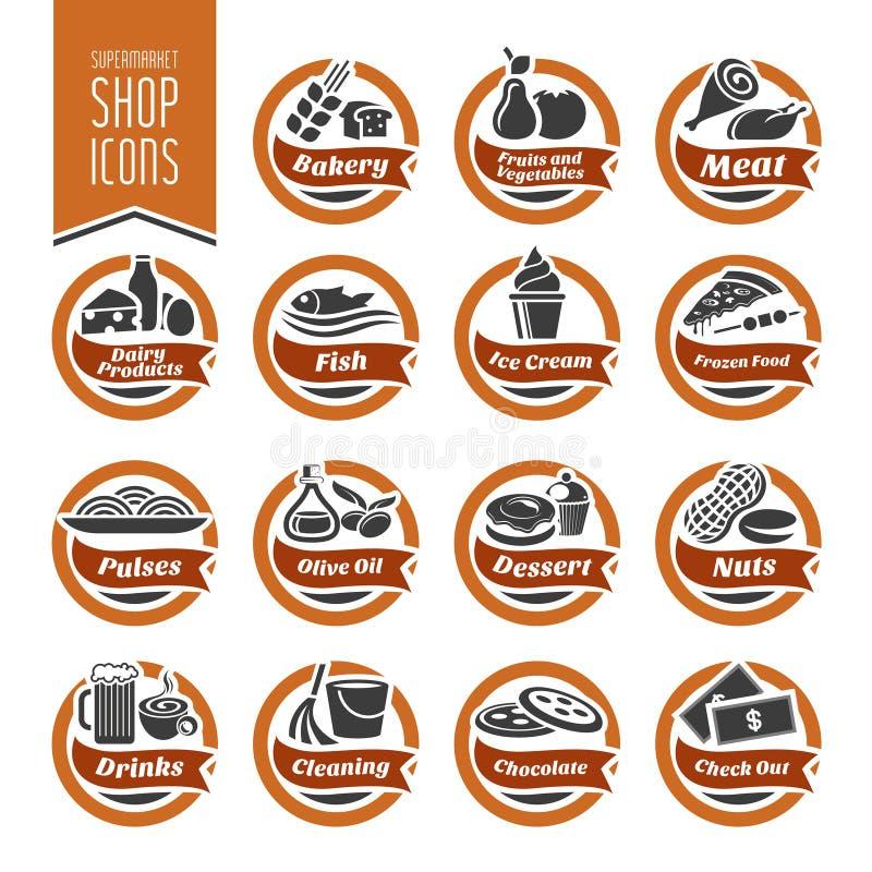 Supermarket ikony Szelfowy set ilustracja wektor