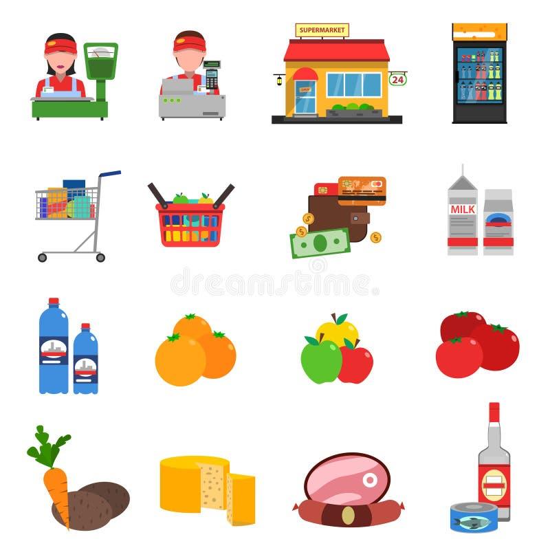 Supermarket ikony Ustawiać royalty ilustracja