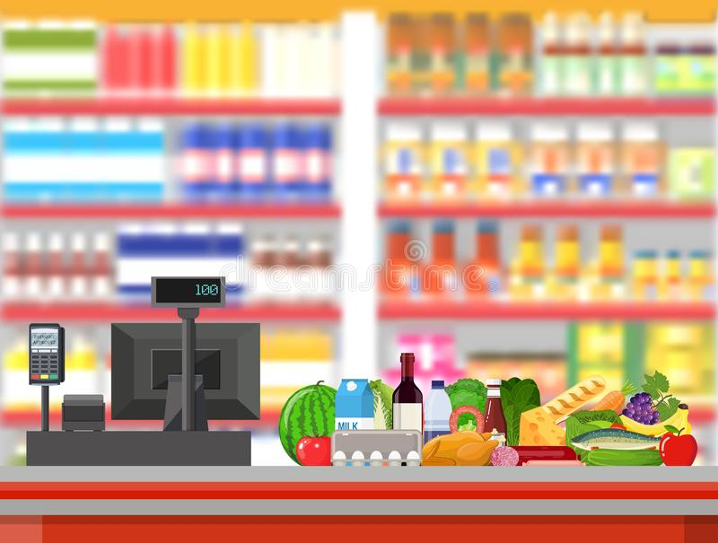 Supermarket interior. Cashier counter workplace. Food and drinks. Shelves with products. Cash register, pos terminal and keypad. Vector illustration in flat royalty free illustration