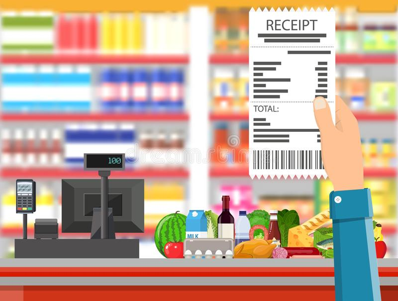 Supermarket interior. Cashier counter workplace. Hand with receipt. Basket with food and drinks. Shelves with products. Cash register, pos terminal and keypad vector illustration