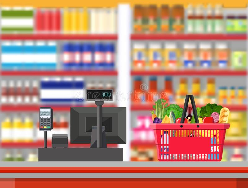 Supermarket interior. Cashier counter workplace. Shopping basket with food and drinks. Shelves with products. Cash register, pos terminal and keypad. Vector vector illustration
