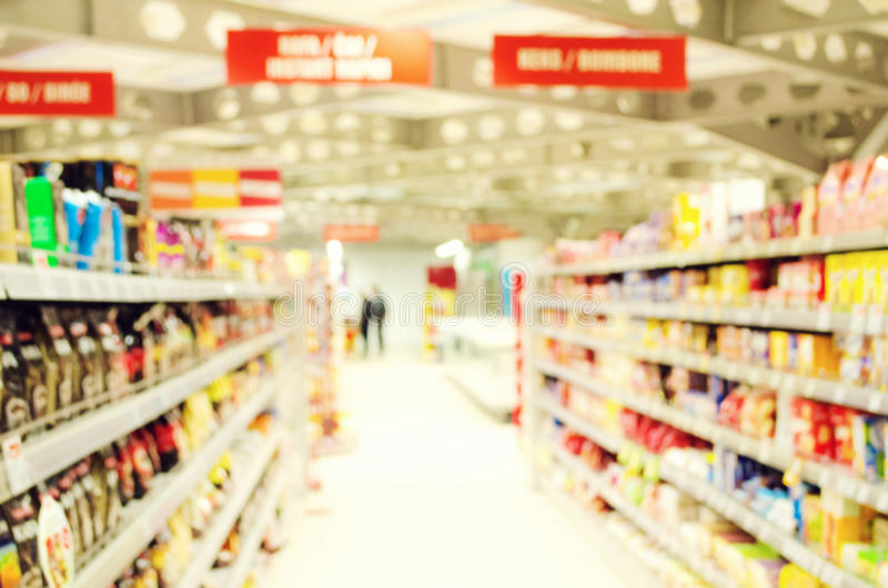 Supermarket. Interior of empty supermarket. Various products in a supermarket royalty free stock images
