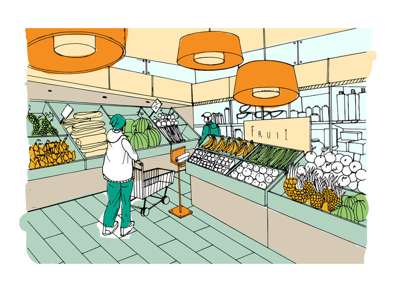 Supermarket interior hand drawn colorful illustration. Grocery store, vegetable department. Supermarket interior hand drawn colorful illustration. Grocery store stock illustration