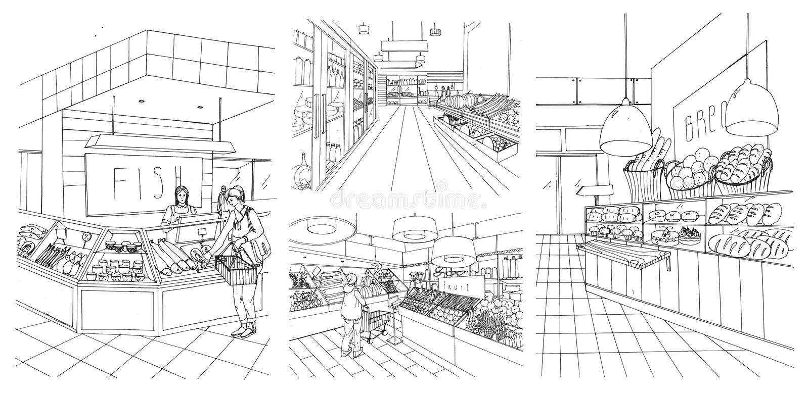 Supermarket interior hand drawn contour illustrations set. Grocery store: fish, bread, fruit, vegetable departments with. Shoppers vector illustration