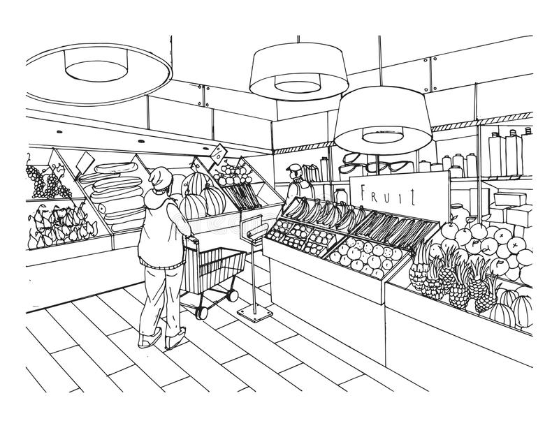 Supermarket interior in hand drawn style. Grocery store, vegetable department. Vector black and white illustration. royalty free illustration