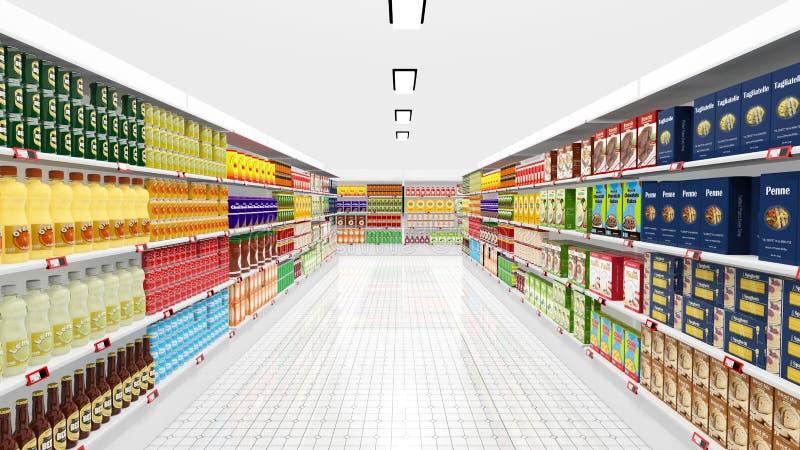 Supermarket interior with shelves vector illustration