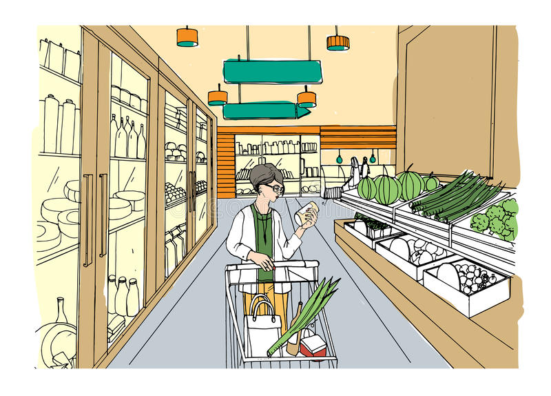Supermarket interior with shopper girl. Grocery store, hand drawn colorful illustration. royalty free illustration