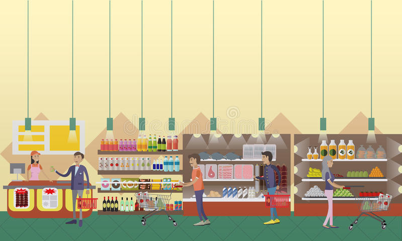 Supermarket interior vector illustration in flat style. Customers buy products in food store. stock illustration