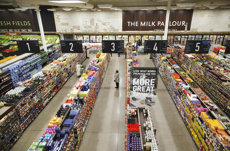 Supermarket interior view, Grocery store in Toronto, Canada. TORONTO - JANUARY 03, 2019: Supermarket interior view, Grocery store in Toronto, Canada on January 3 stock photos