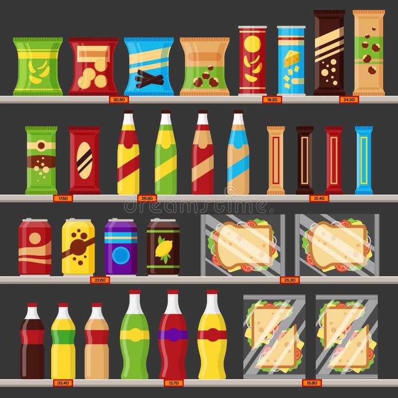 Supermarket lagerhyllor med livsmedelprodukter Snabbmatmellanmål och drinkar med prislappar på de plana kuggarna - royaltyfri illustrationer