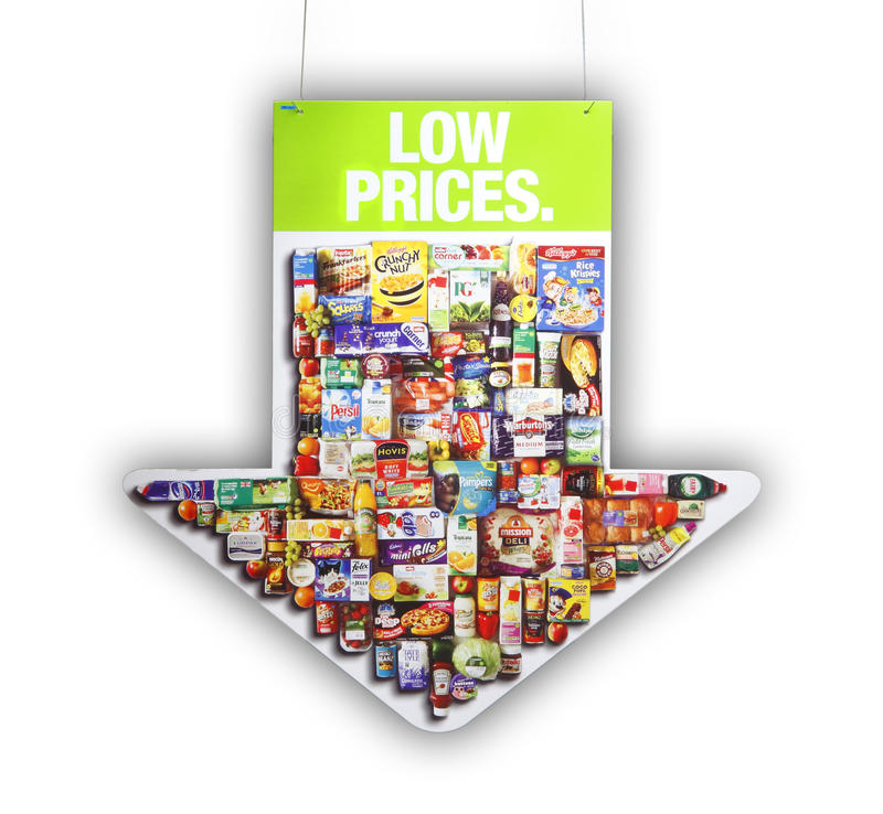 Supermarket Low Prices Sign Editorial Photography