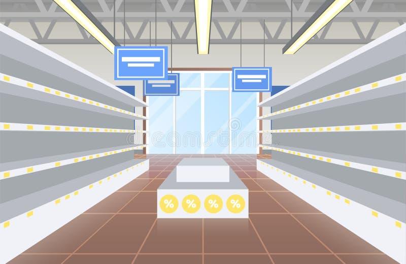Supermarket med den tomma hyllavektorillustrationen vektor illustrationer