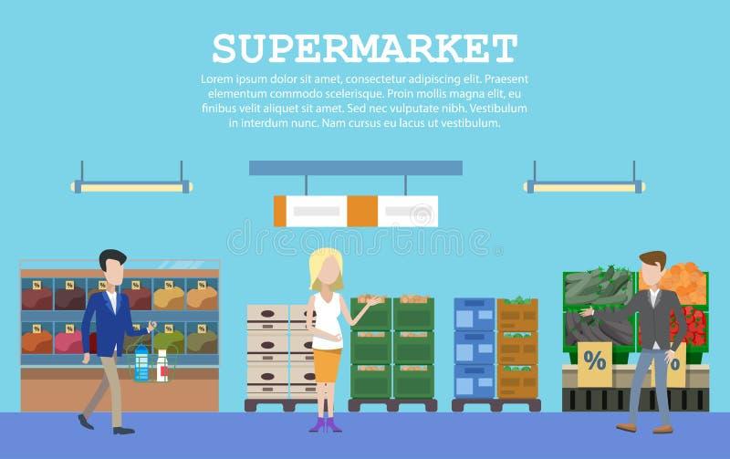 Supermarket med mat och folk eller köpare vektor illustrationer