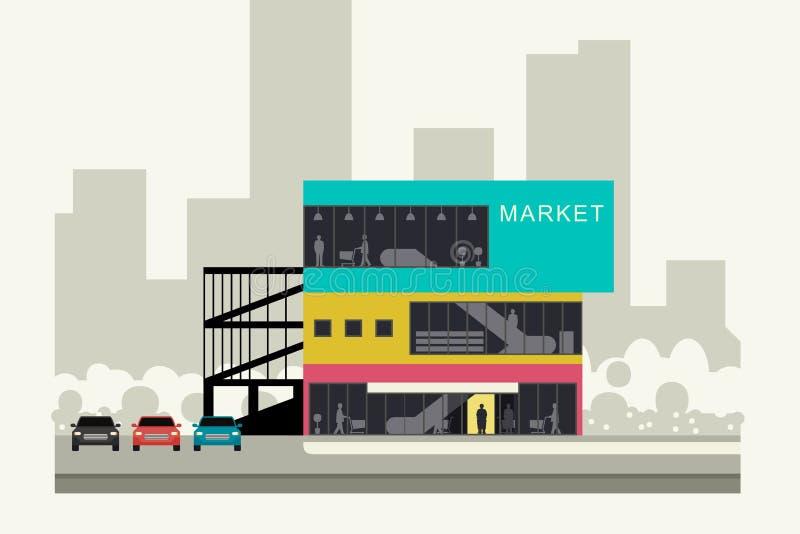 Supermarket na poboczu ilustracja wektor